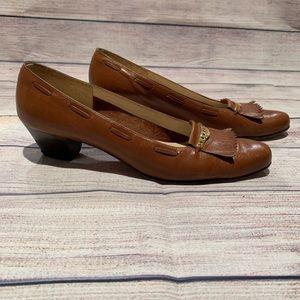 Vintage Salvatore Ferragamo Brown Heels Gold